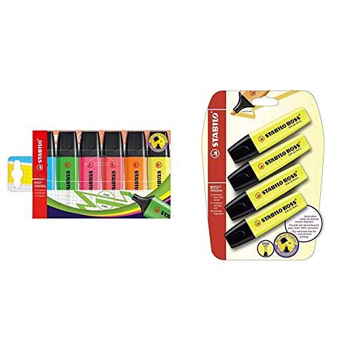 STABILO BOSS Original Marcador fluorescente multicolor - Estuche con 6 + B-14892 - Subrayador, amarillo (Pack de 4)