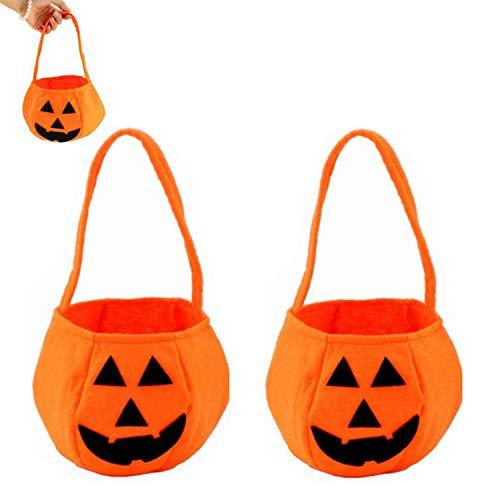 Xinmeng 2 Piezas Bolsa de Dulces de Calabaza de Halloween, Bolsas de Trucos O Golosinas Bolsa de eRgalo con Asas para Fiestas, Bolsillo Organizador para Halloween Fiesta Decoración