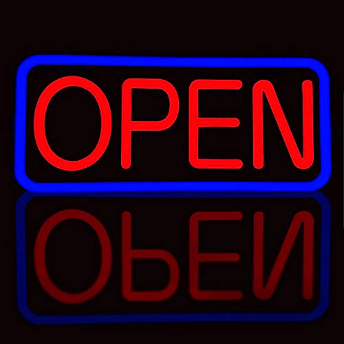 BritTech 21'' X 10'' Ultra Bright LED Neon Open Sign - Remote Controlled - Get Your Business Seen Day or Night(21'' X 10'' Blue/Red)