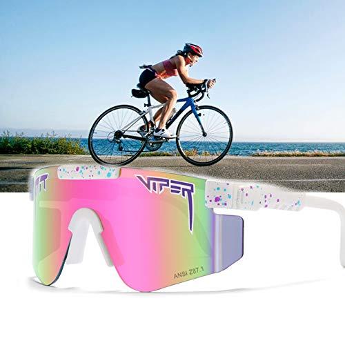 CWWHY Gafas De Sol Originales, Gafas De Sol Deportivas, Gafas De Protección UV400 Polarizadas para Ciclismo Al Aire Libre, Espejada Polarizada De Doble Ancho para Mujeres Y Hombres,C42