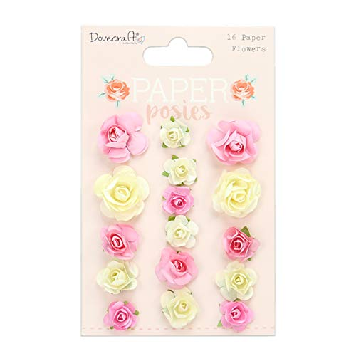 Dovecraft DCFLW036 Posies Paper Flowers – 16 Pieces – 25mm & 15mm – Pink & Cream – Floral Crafts-For Card Making, Papercraft, Journaling, Scrapbooking and More, Multicolour, One Size