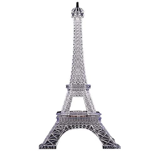 Lámpara de noche de Torre Eiffel con 7 colores que cambian 3D Torre Eiffel ilusión botón de luz nocturna alimentado por pilas LED transparente lámpara de mesa decoración para el hogar al aire libre