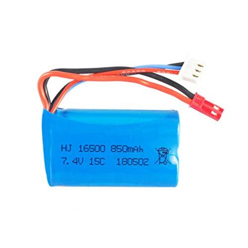 Grehod Batería de Iones de Litio de 7,4 V 850 mAh 16500 para Barco RC HQ956 para Syma X6 803875 avión RC FX060 9114 batería Recargable de 7,4 v Blue
