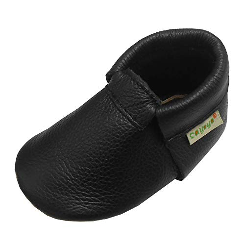 SAYOYO Baby Boys Girls Shoes Baby Toddler Soft Sole Prewalker First Walker Crib Shoes Baby Moccasins 6-12 Months Black
