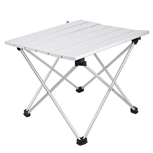 Mesa plegable al aire libre Mesa de camping portátil con tablero de aluminio y bolsa de almacenamiento, pequeña mesa lateral plegable para...