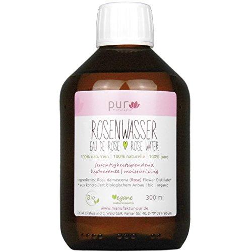 300 ml Echtes Rosenwasser Bio in Medizinflasche aus Glas 100% naturreines Rosen-Hydrolat