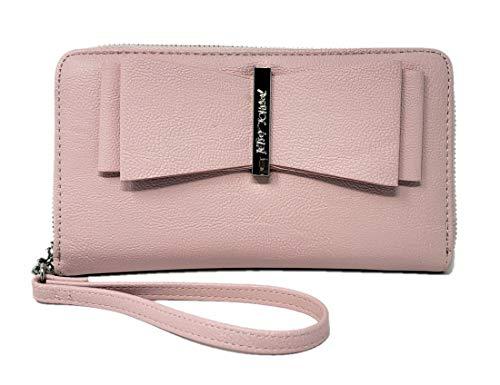 Betsey Johnson Logo-Handtasche, mit Reißverschluss, Schleife, Rosa/silberfarben