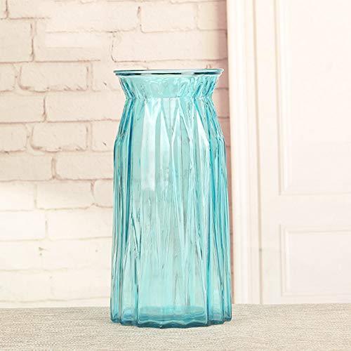DZSF Hohes Glasvase-Trockenblumengesteck, transparente Glasvasen-Farbblumen-Flaschen-Wohnzimmer-Modell-Vasen-Dekoration,d,L