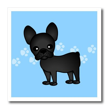 3dRose ht_25320_2 Cute Black Brindle French Bulldog Blue with Pawprints-Iron on Heat Transfer for White Material, 6 by 6-Inch