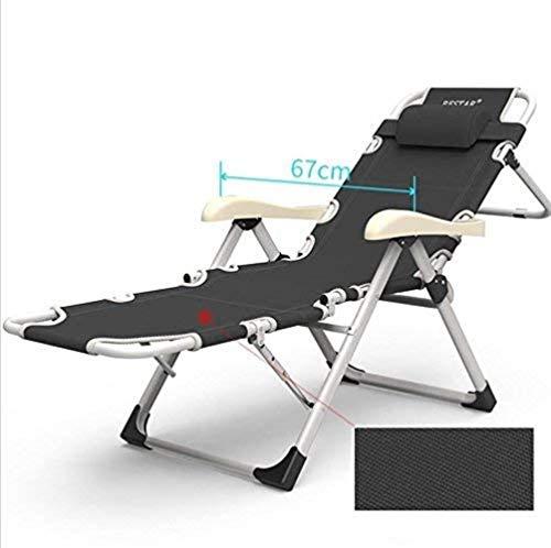 GBLight Beach Chair Sun Lounger Folding Folding Bed Sunbed Reclining Garden Chair 184 cm + Reclining Legrest Backrest + Black Headrest (Color : A)