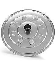 Spacde Home – universallock för kastruller och stekpannor – stänkskydd lock med sprej – kastrulllock med knopp – Ø 32 cm – silver