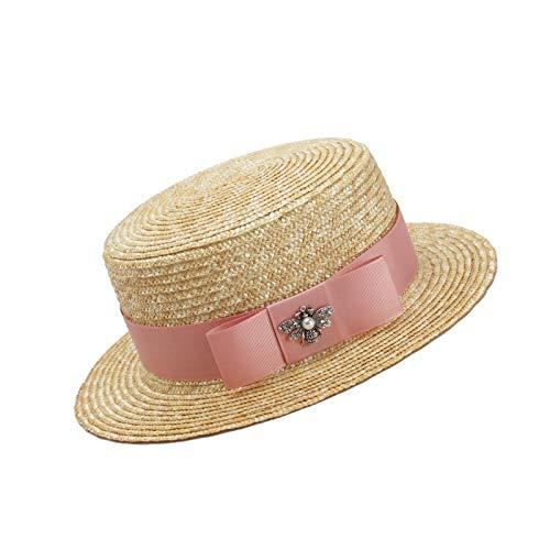 WATERMELON Lady Bee Decorar Sombrero para el Sol Verano Top Plano Salvaje Sombrero de Paja Moda Casual Estilo de Fiesta Combinación (Color : Pink Bow)