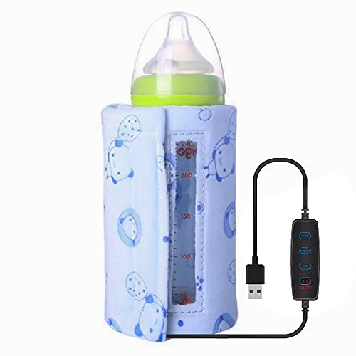 Portable Baby Bottle Warm Keeper, USB Adjustable Milk Heating Keeper Milk Bottle Insulation Thermostat for Night Feeding,Traveling, Outing,Driving(Blue(Adjustable Temperature))