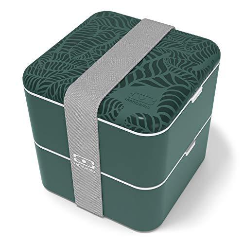 monbento - MB Square bento box - Lunch box hermétique 2 étages - Boîte repas idéale pour le travail/école - sans BPA - durable et sûre (Graphic, graphic Jungle)