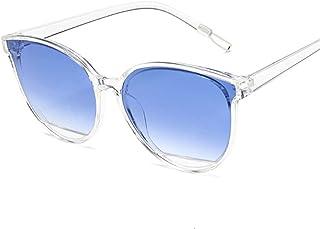 QWKLNRA - Gafas De Sol para Hombre Marco Blanco Lente Azul Retro Espejo Gafas De Sol Mujer Hombre Lujo Vintage Ojo De Gato Gafas De Sol Negras contra-UV Uv400 Ciclismo Viajes Pesca Gafas De Sol Al Air