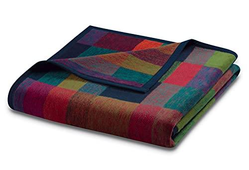 """biederlack® flauschig-weiche Kuschel-Decke aus Baumwolle und dralon® I Made in Germany I Öko-Tex I nachhaltig produziert I Bunte Wohn-Decke """"Color Squares Blue"""" in grün-blau, Sofa-Decke in 150x200cm"""