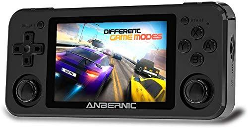 RG351P Consolas de Juegos Portátil , Consola de Juegos Retro Game Console 3.5 Pulgadas IPS Videojuegos Portátil Free with 64G TF Card Built-in 2500 Juegos Support PSP / PS1 / N64 / NDS - Black