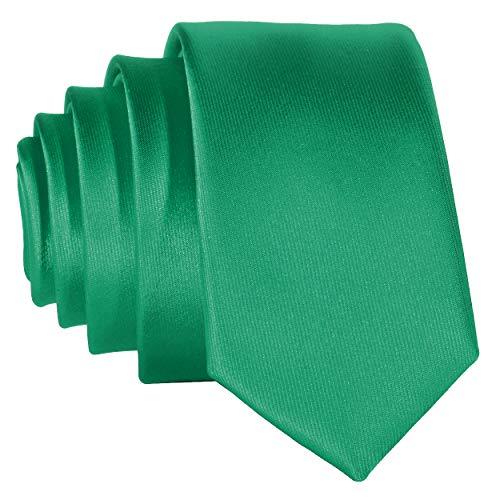 DonDon schmale grasgrüne Krawatte 5 cm