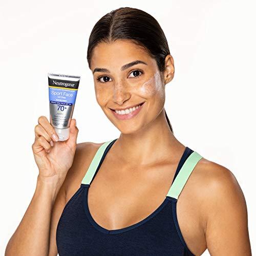 Neutrogena Sport Face Oil-Free Lotion Sunscreen with Broad Spectrum SPF 70+, Sweatproof & Waterproof Active Sunscreen, 2.5 fl. oz