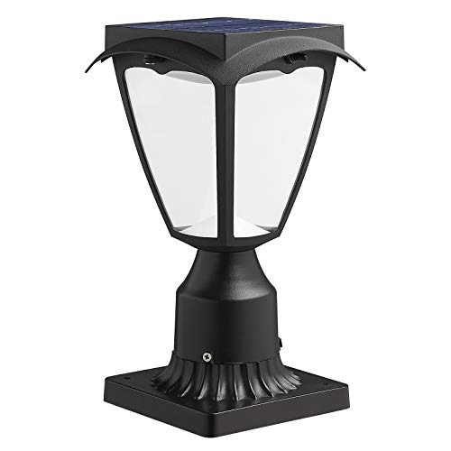 Solar Post Light Fixtures-Two Lighting Modes Include Warm/White Light and Pier Mount Base (Black)