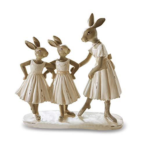 Loberon Hasen Danseuses, Osterdeko, Polyresin, H/B/T ca. 23/23 / 9 cm, Creme/braun