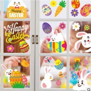 150 szt. 10 arkuszy naklejki na okno wielkanocne naklejki, królik jajka wielkanocne naklejki dekoracje na Wielkanoc dom okno wystawowe