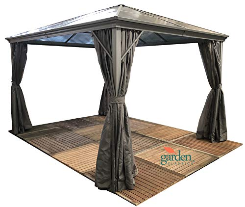 Luxury Swanbourne garden party Gazebo Hardtop Smoked Polycarbonate roof, 3m x 3m, privacy sides