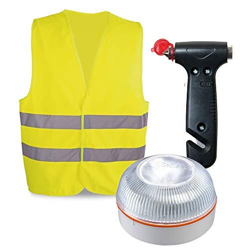 HELP FLASH PK2683 luz AUTÓNOMA señalización Peligro/Linterna, DGT, V16, AUTOMÁTICA + Martillo Emergencia: rompeventanas+Cortador cinturón, y de Regalo, Chaleco Reflectante HOMOLOGADO