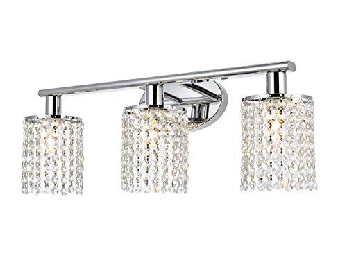 Luburs Bathroom Light Fixtures 3-Lights Crystal Wall Sconce Vanity Light Fixtures for Bathroom Lighting Fixtures Over Mirror,Polished Chrome,Luxury Bedroom Vanity Light Fixtures with Crystal Drop