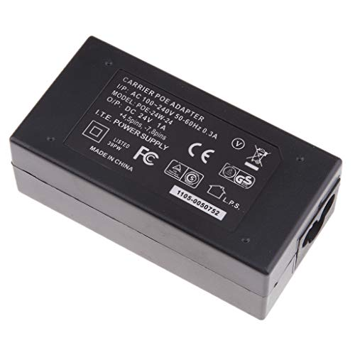 Toygogo Interruptor de Inyector de Fuente de Alimentación PoE de Escritorio 24V / 1A para Teléfono con Cámara Ethernet