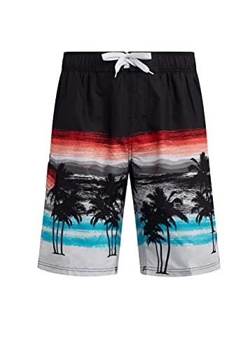 Kanu Surf Men's Barracuda Swim Trunks (Regular & Extended Sizes), Seaside Black/Aqua, XX-Large