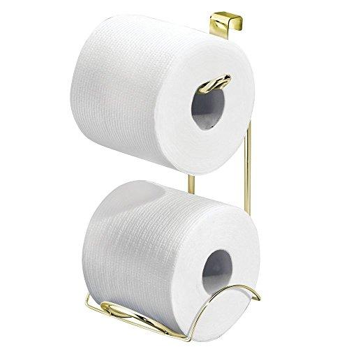 iDesign Porte-Papier hygiénique Classico, pour Dessus de Cuvette, Toilettes-Doré/Laiton, Acier, 13,97 x 16,51 x 26,04 cm