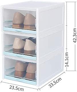 Martinimble Shoe Box Storage Organizer,3 Pack/Set Stackable Storage Shoe Box Clear Plastic Shoes Containers Cases(Single Box Size:14.1x33.5x23.5cm;Set Boxes Size:42.3x33.5 x 23.5cm)