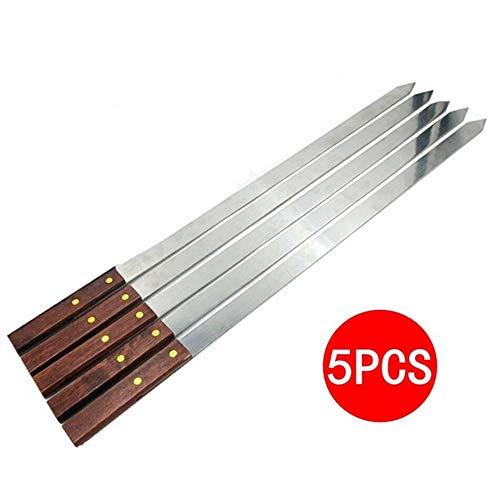 YH 5Pcs / Set Pinchos de Barbacoa de Metal de Acero Inoxidable Reutilizables con Mango de Madera, palitos de kabab de Metal Trenzado para Barbacoa al Aire Libre