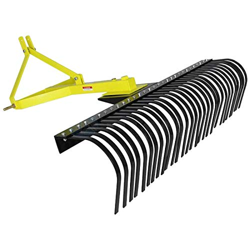 Titan Attachments 6 FT Landscape Rake for Compact Tractors, Tow-Behind Garden Tool