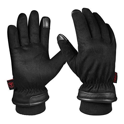 OZERO Winterhandschuhe,Wasserdicht Handschuhe Herren für Ski,Radfahren,Lauf,Motorrad,und Arbeit, Schwarz, L