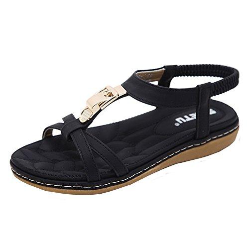 LANSKIRT Sandalias Mujer Verano 2019 Plataforma Zapatos Planos de Moda Sandalias con Hebilla de Metal de Bohemia para Damas Zuecos de Al Aire Libre y Playa Chanclas(Negro_01, 39 EU)