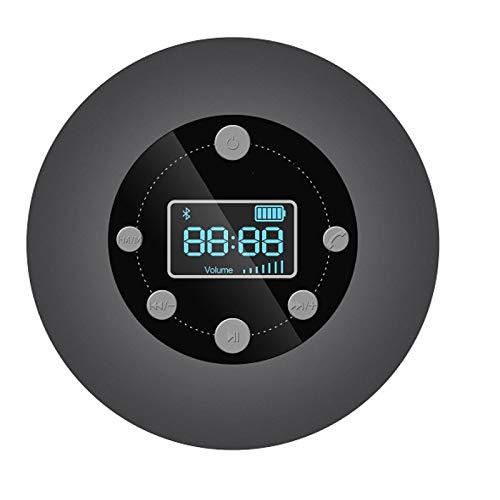 QAZW IPX4 Altavoz Impermeable Radio Ducha Portátil con Ventosa, FM Radio Mini Radio estéreo de Manos Libres con Pantalla LED Radios de Ducha a Prueba de Agua,Black