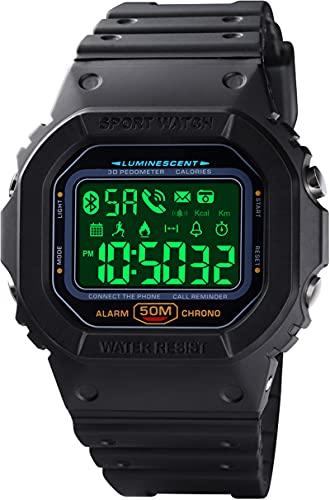 Digitaluhr mit Bluetooth Multifunktionsuhr Herren Militär Tactical Watch IP68 Wasserdicht Schrittzähler Kalorien Armbanduhr Stoppuhr Alarm Benachrichtigung Smartwatch Outdoor Männer