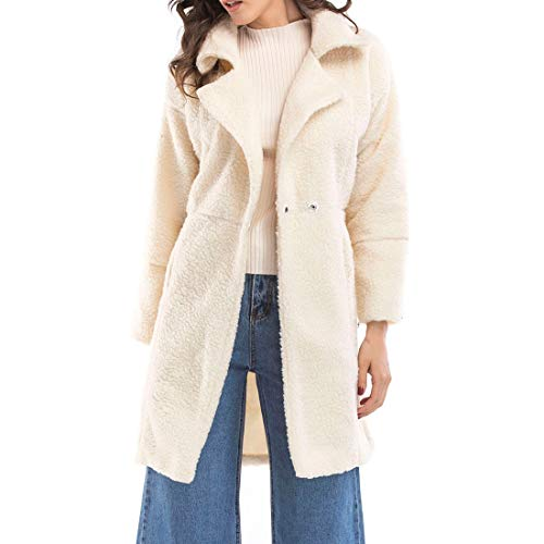 YJNH Women's Long Sleeve Lapel Elegant Solid Color Retro Leisure Warm Winter Coats Outdoor Jackets Slim Fit Comfortable Mid-Length Streetwear and Winter top XL