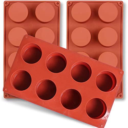 NALCY Stampo da Forno Rotondo in Silicone, Stampo per 8 tortine, Stampo per Muffin, per Muffin, Stampo Mini, Stampo per Cupcake, Muffin con Rivestimento Antiaderente, 3 Pezzi