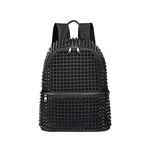 Fashion Female Women Backpack Rivet Black Canvas Schoolbags for Girls Punk Cool Bags Travel Zipper Bookbag