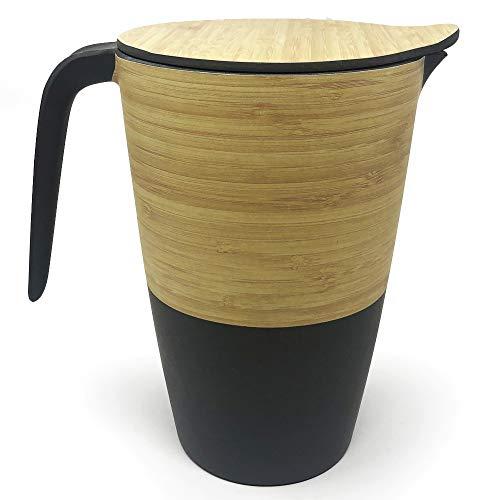 Space Home - Kanne mit Deckel aus Bambus - Wasser Krugg - Getränkekrug - Umweltfreundlichem - Braune Farbe