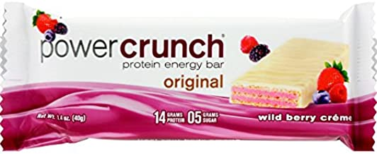 Power Crunch Bar - Wild Berry Cream - Case of 12 - 1.4 oz - Protein Energy Bar - 14 Grams Protein - 5 Grams Sugar