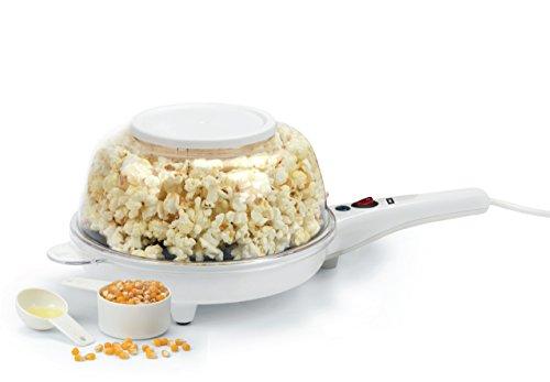 Melissa 2 In 1 Popcorn und Crêpes Maschine mit integrierter Servierschüssel, Popcornmaschine für zuhause, Crêpes Maker 800 Watt