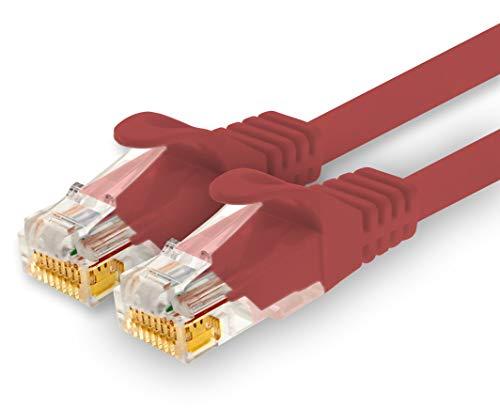 1CONN - 10m Netzwerkkabel, Ethernet, LAN & Patchkabel für maximale Internet Geschwindigkeit & verbindet alle Geräte mit RJ 45 Buchse rot - 1 Stück