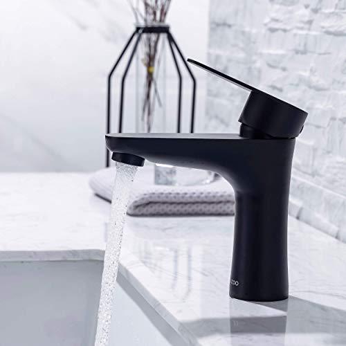 LOMAZOO Waschtischarmatur für Bad - Wasserhahn Bad   Waschbeckenarmatur Mischbatterie-Armatur Bad Einhebelmischer für Badezimmer   Badarmatur Edelstahl Schwarz (Mary)