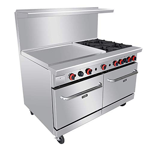 "Commercial 4 Burner Range with 36"" Griddle and 2 Standard Ovens - Heavy Duty Natural Gas Cooking Performance Group for Kitchen Restaurant- 229,000 BTU 60"""