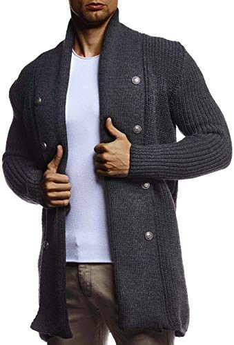 Leif Nelson Herren Strickjacke Reissverschluss Schwarze Jacke für Winter Schalkragen Winterjacke Übergangsjacke Hoodie Männer Freizeitjacke Sweatjacke Slim Fit LN5995 M Anthrazit