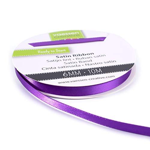 Vaessen Creative 301002-1016 Satinband Lila, 6 mm x 10 Meter, Schleifenband, Dekoband, Geschenkband und Stoffband für Hochzeit, Taufe und Geburtstagsgeschenke, 6MM